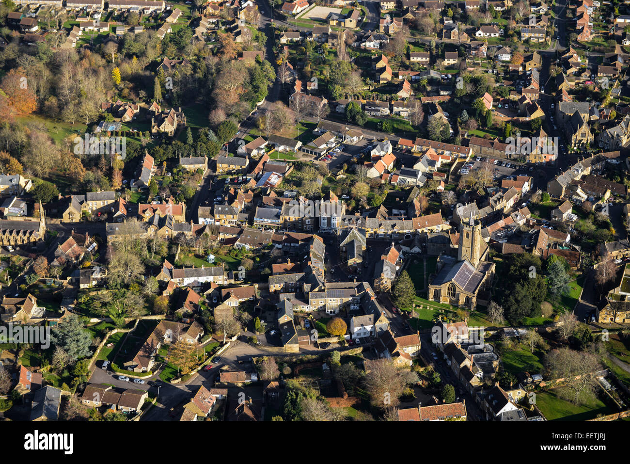 An aerial view showing the centre of the Somerset village of South Petherton - Stock Image