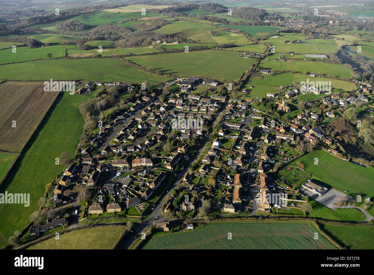 An aerial view of the South Somerset village of Odcombe and surrounding farmland - Stock Image