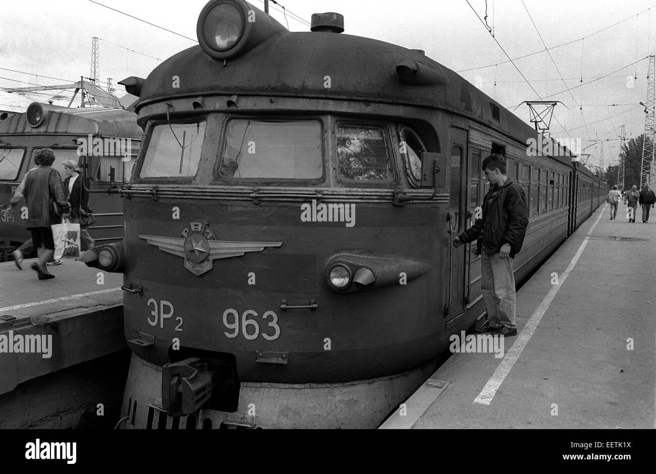 Soviet era electric train in St Petersburg Russia 1990s Stock Photo