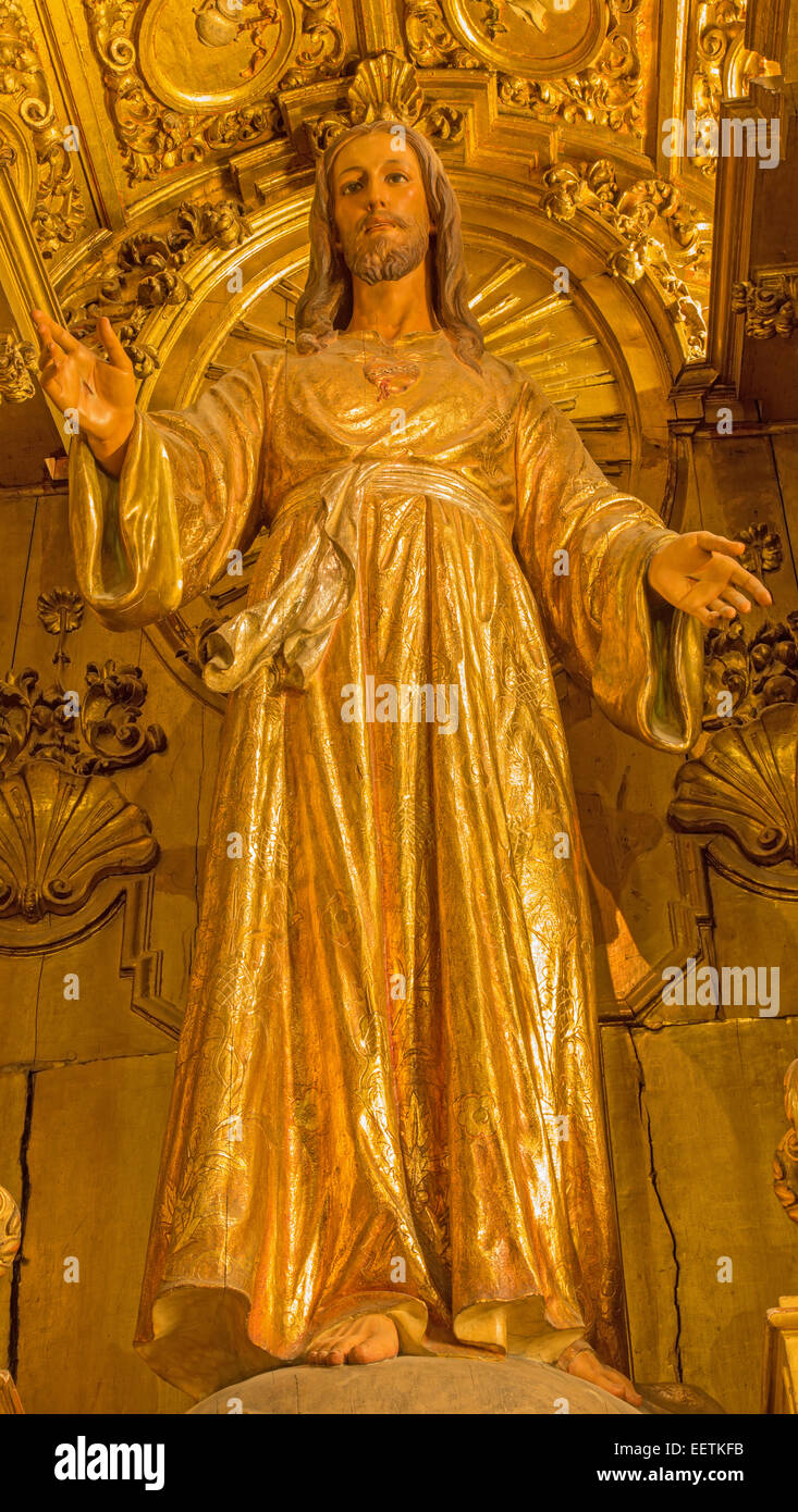 SEVILLE, SPAIN - OCTOBER 27, 2014: The baroque polychrome statue of Jesus Christ from 17. cent. in church Iglesia - Stock Image