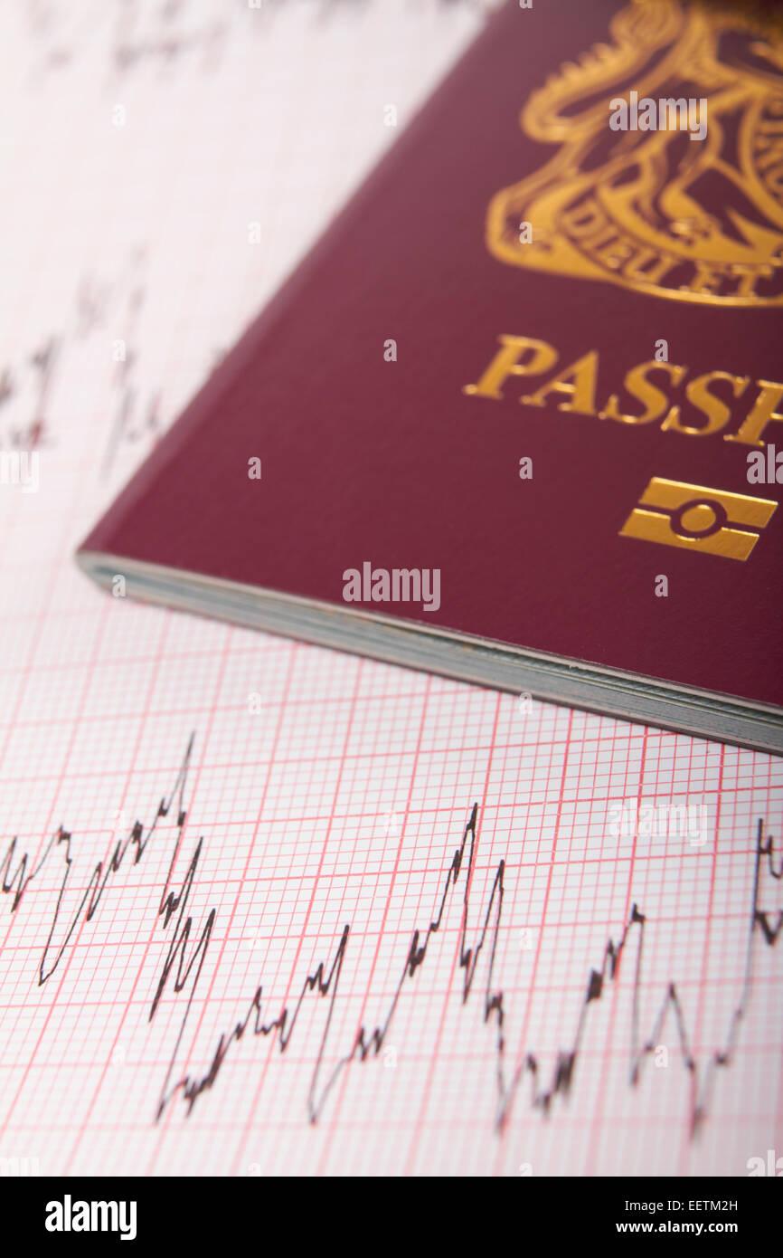 UK Passport On ECG Printout To Illustrate Risk Of Catching Illness Overseas - Stock Image