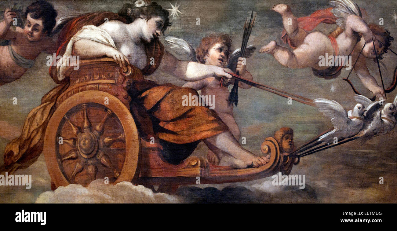 The Chariot of Venus by  Pietro da Cortona ( 1596 - 1669 ) Italy Italian - Stock Image