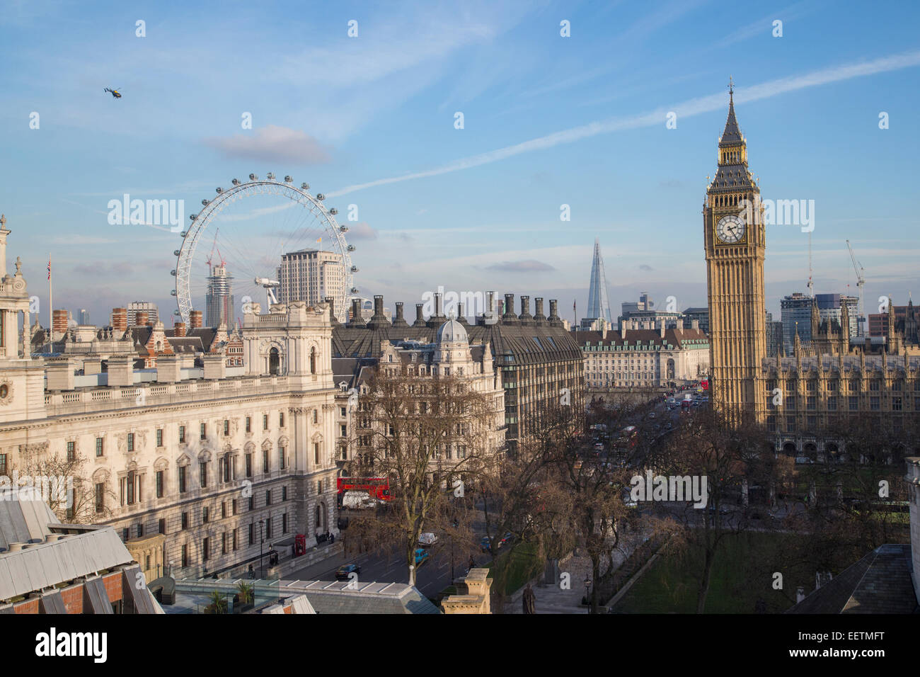 View of Parliament Square looking south with Big Ben,The London Eye and the Shard - Stock Image