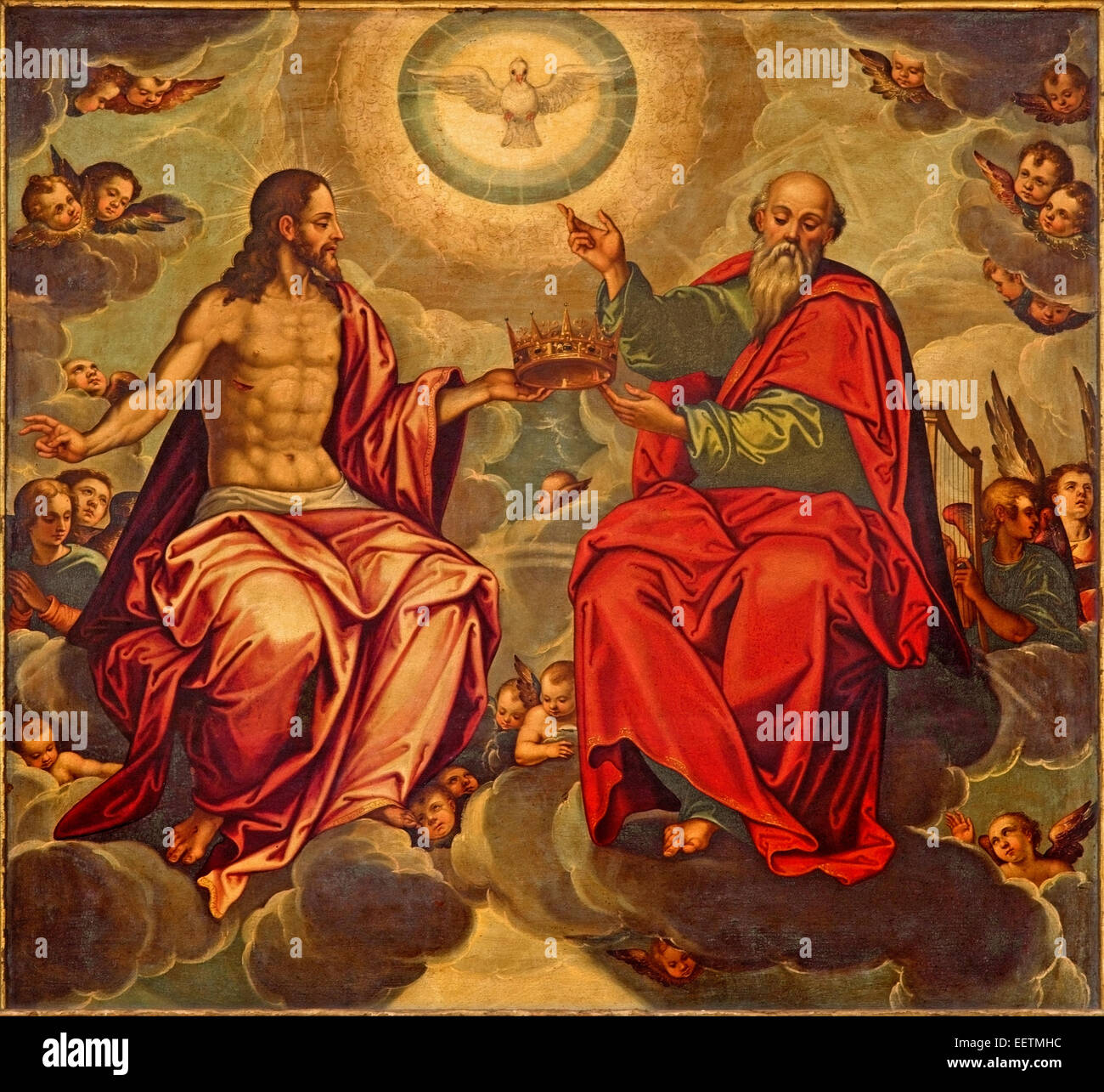 Seville - Holy Trinity paint in church Iglesia de la Anunciacion by Marcelo Coffermans (1560) in renaissance style. - Stock Image