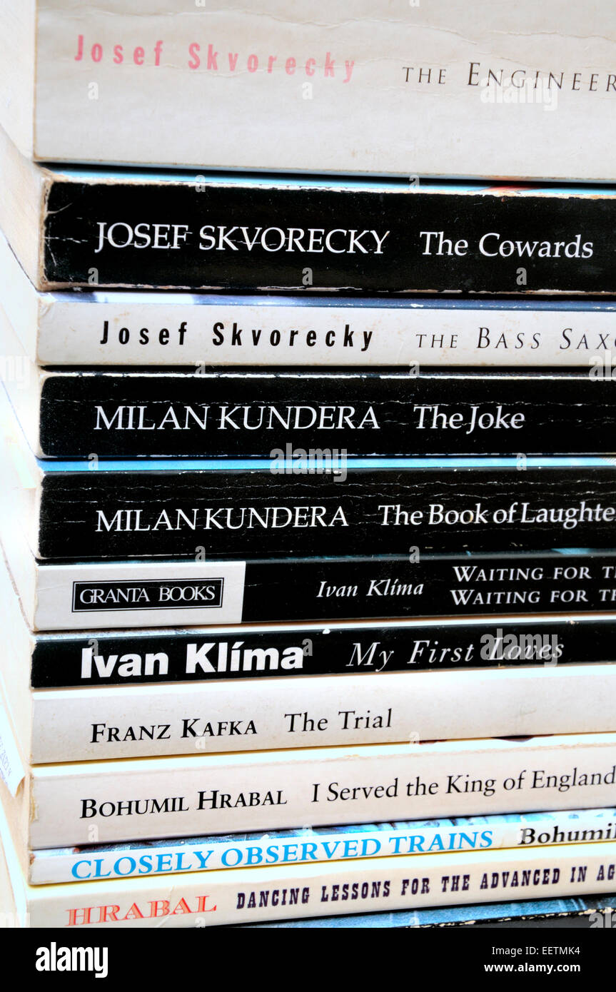 Paperback books by Czech authors: Skvorecky; Kundera; Klima; Kafka; Hrabal - Stock Image