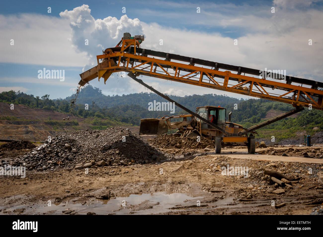 Activities on Rio Tinto Kelian mine closure project in Borneo. - Stock Image
