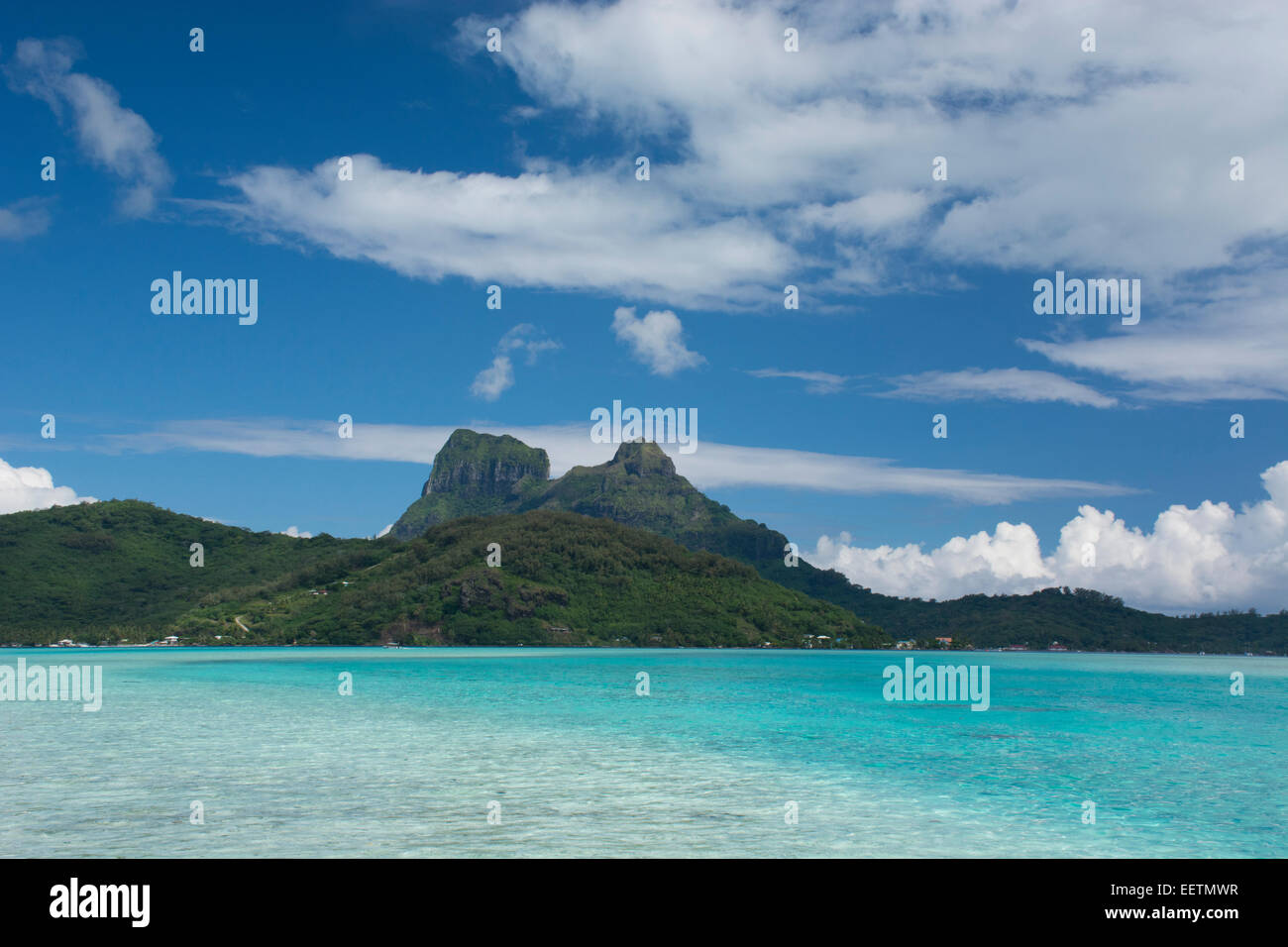 French Polynesia, Society Islands, Leeward Islands, Bora Bora. View of Bora Bora's volcanic landscape. Stock Photo
