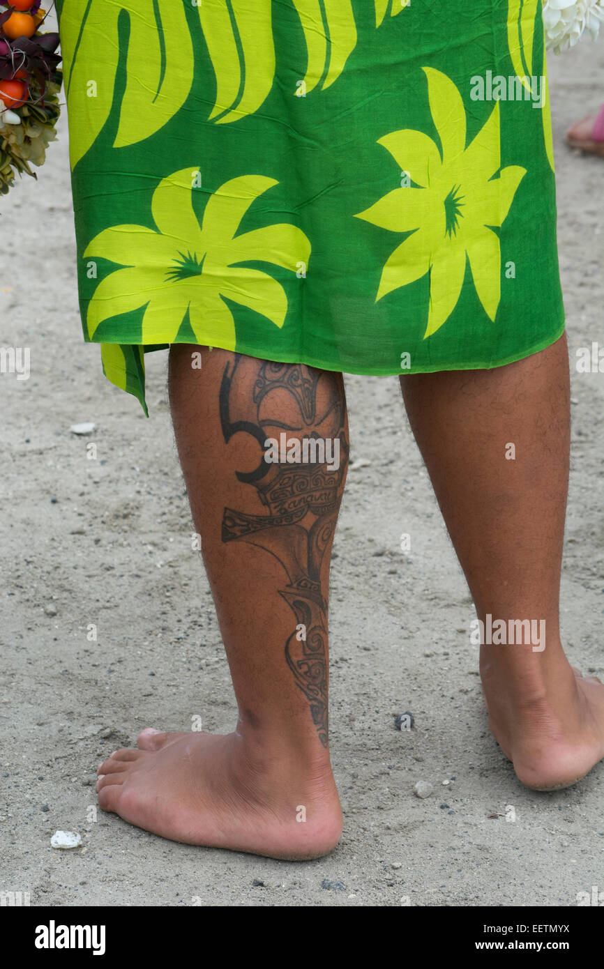 French Polynesia, Gambier Islands (aka Mangareva Islands), Island of Mangareva, town of Rikitea. Man with traditional - Stock Image
