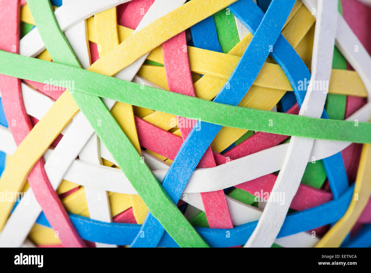 Close Up Of Rubber Band Ball - Stock Image