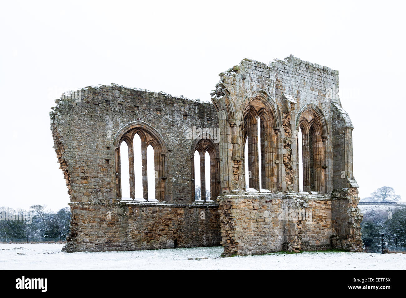 The Remains of Egglestone Abbey Near Barnard Castle in Winter Teesdale County Durham UK - Stock Image