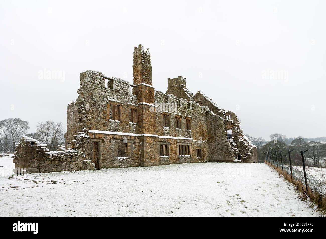 The Ruins of Egglestone Abbey Near Barnard Castle County Durham in Winter - Stock Image