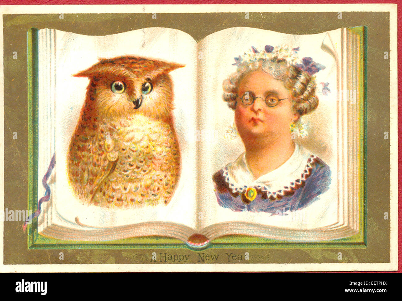 victorian new year card with owl