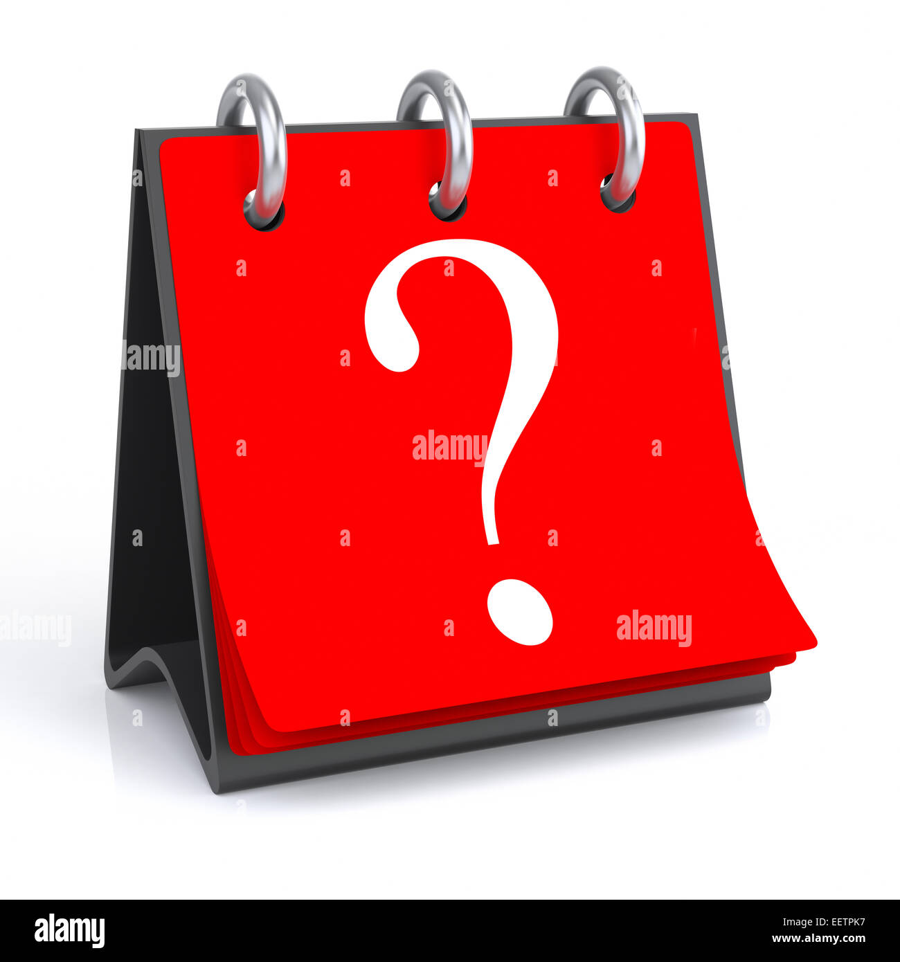 3d rendering isolated calendar with Question Mark symbol. - Stock Image