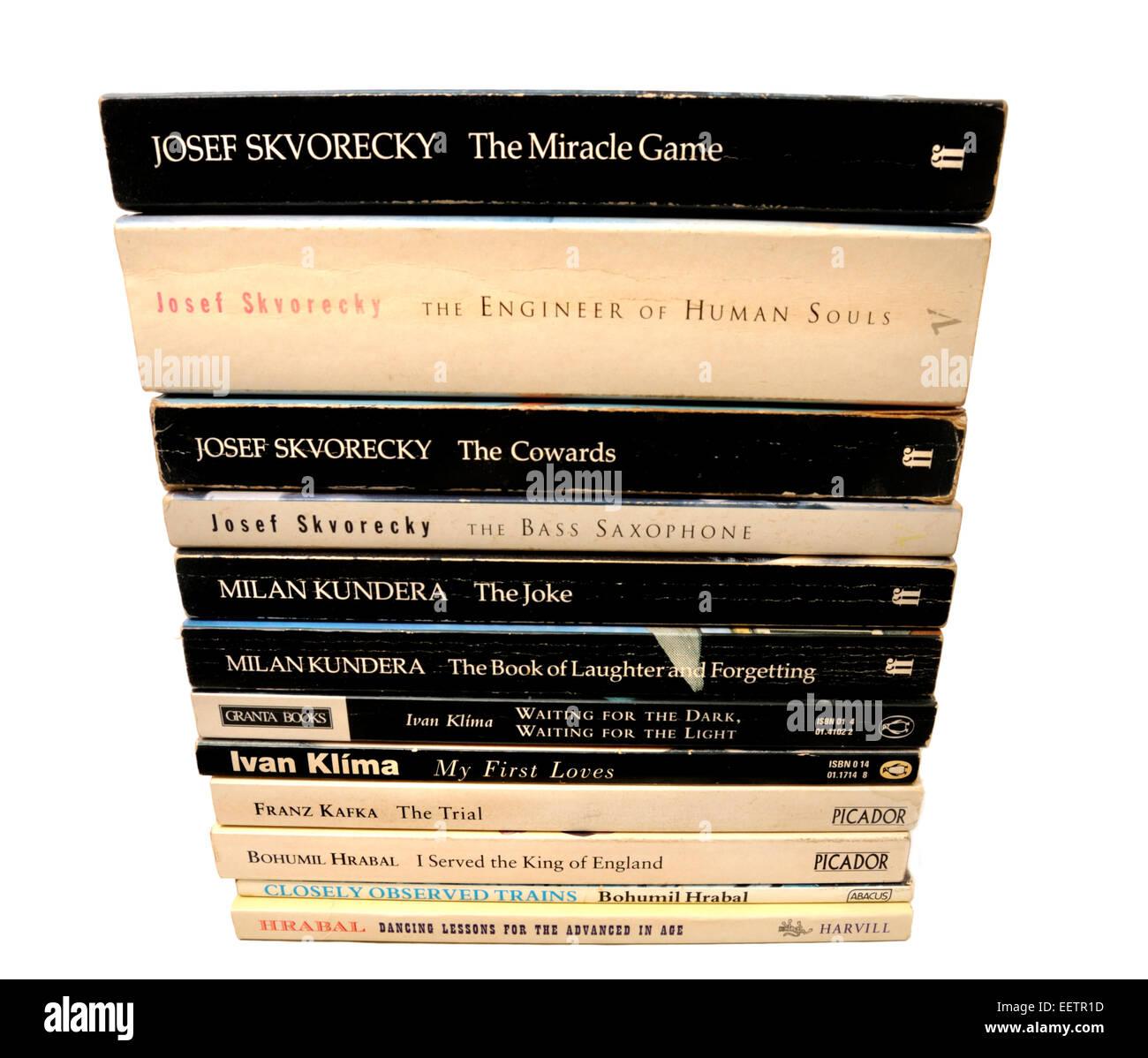 Paperback books by Czech authors: Skvorecky; Kundera; Klima; Kafka; Hrabal - Stock Image