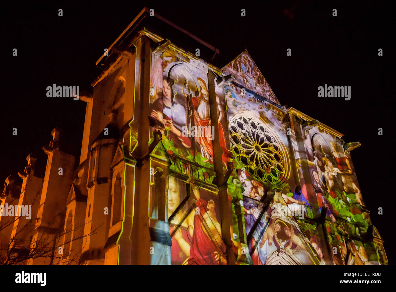Sound and light show projection on Saint Roch Church during Christmas, Montpellier, France - Stock Image