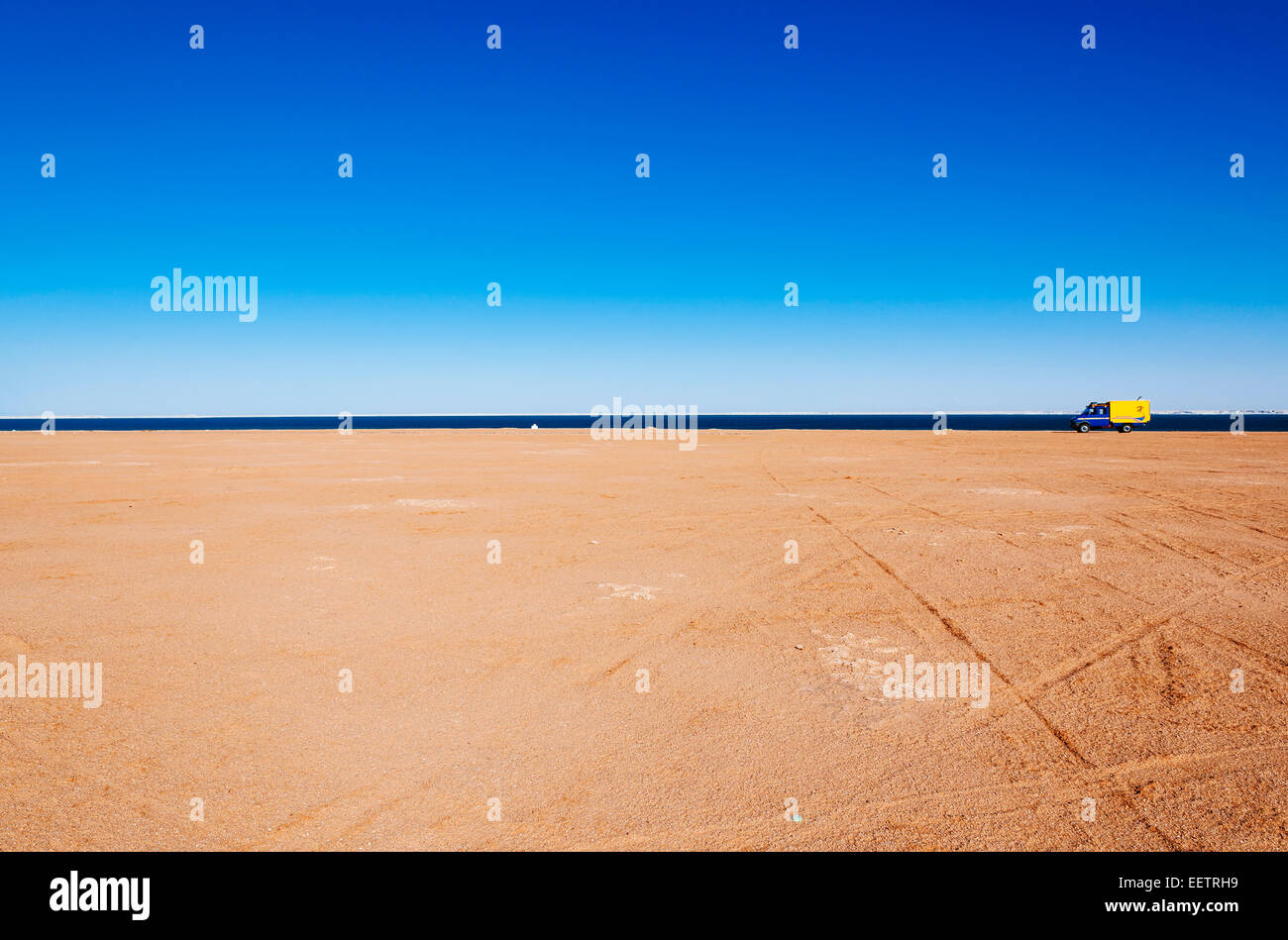 4x4 expedition truck parked by the coast, Dakhla, Western Sahara, Morocco - Stock Image