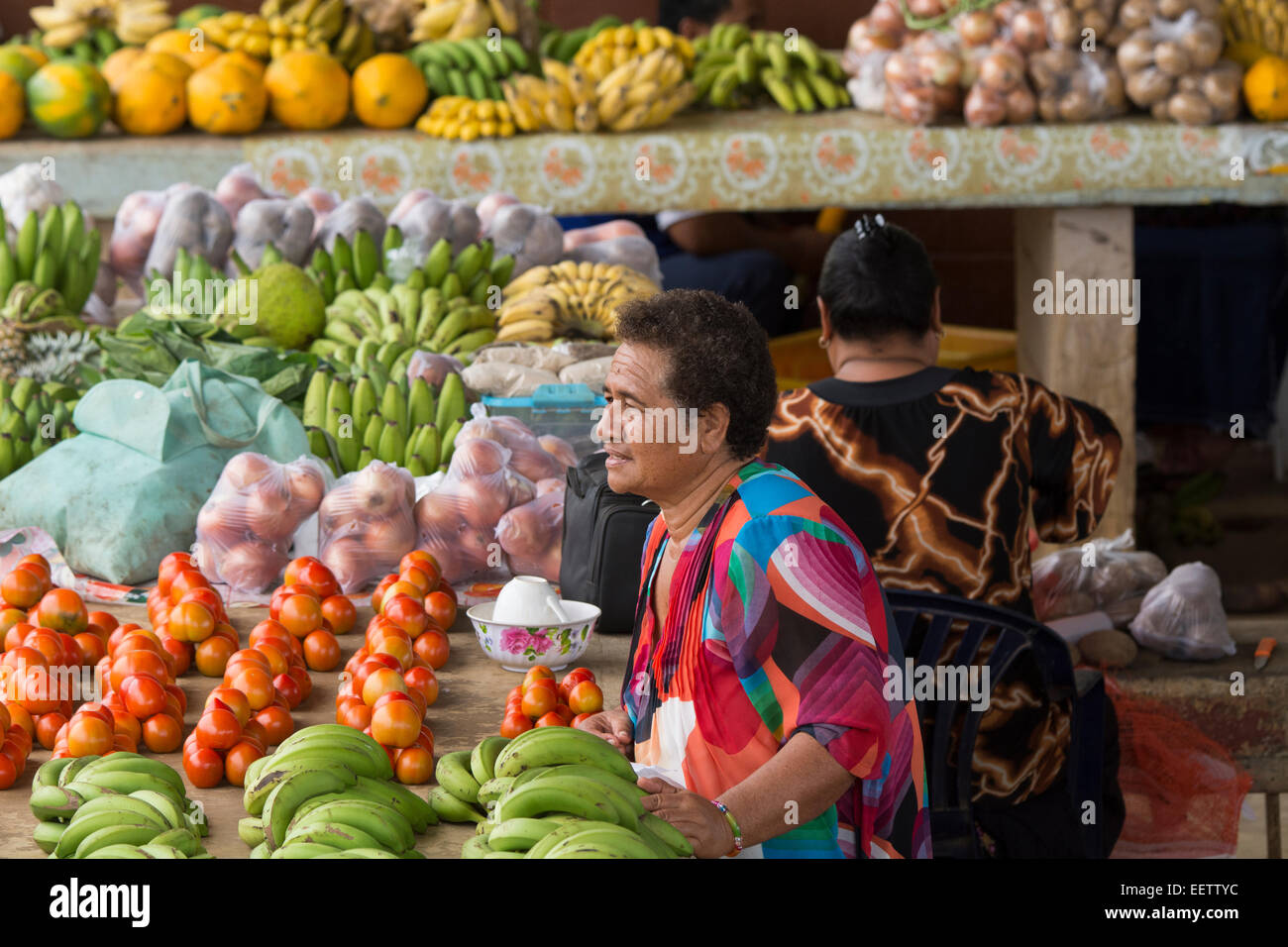 Kingdom of Tonga, Vava'u Islands, Neiafu. Local produce market, vegetable vendor stand. - Stock Image