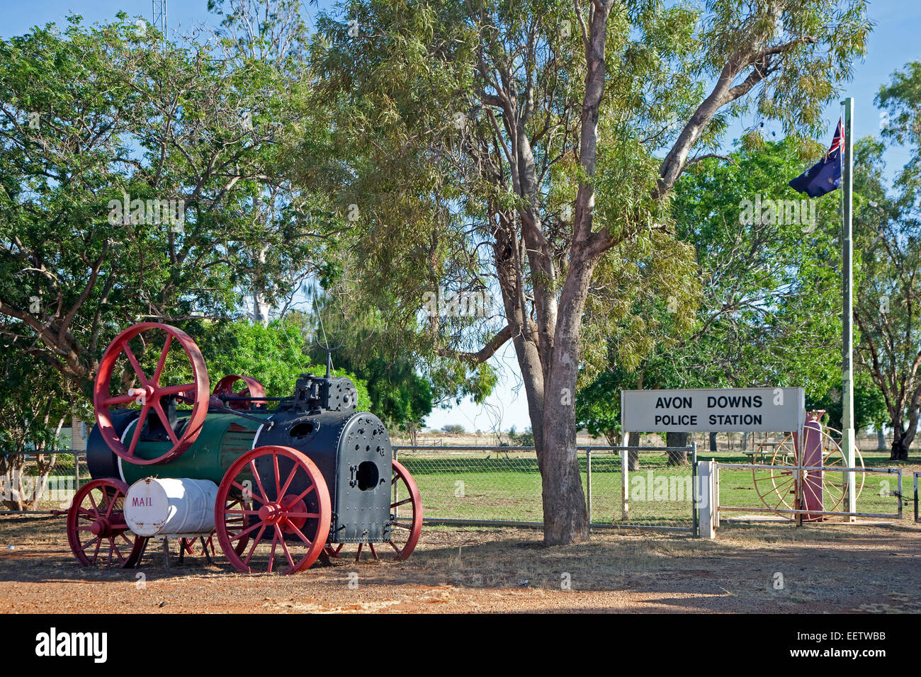Vintage steam traction engine at Avon Downs police station along the Barkly Highway, Northern Territory, Australia - Stock Image