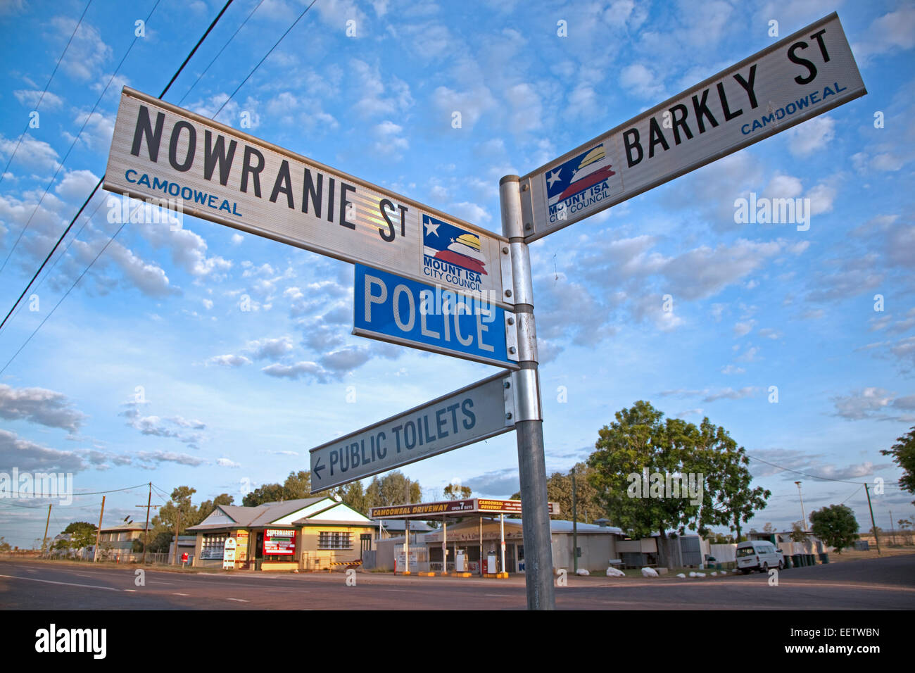 Signpost along the Barkly Highway at Camooweal, small village in north-western Queensland, Australia - Stock Image