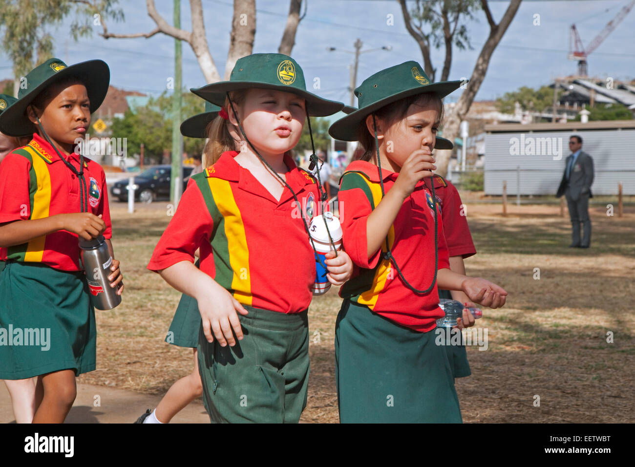 Little girls dressed in school uniforms at Mount Isa, Gulf Country region of Queensland, Australia - Stock Image