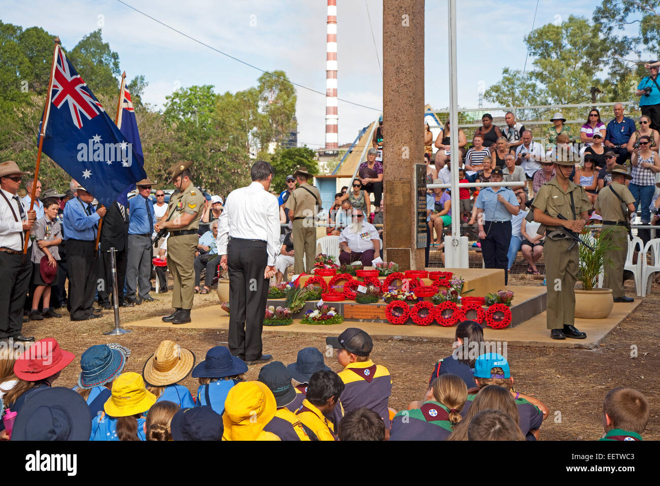 Remembrance service on ANZAC Day at George McCoy park in Mount Isa, Gulf Country region of Queensland, Australia - Stock Image