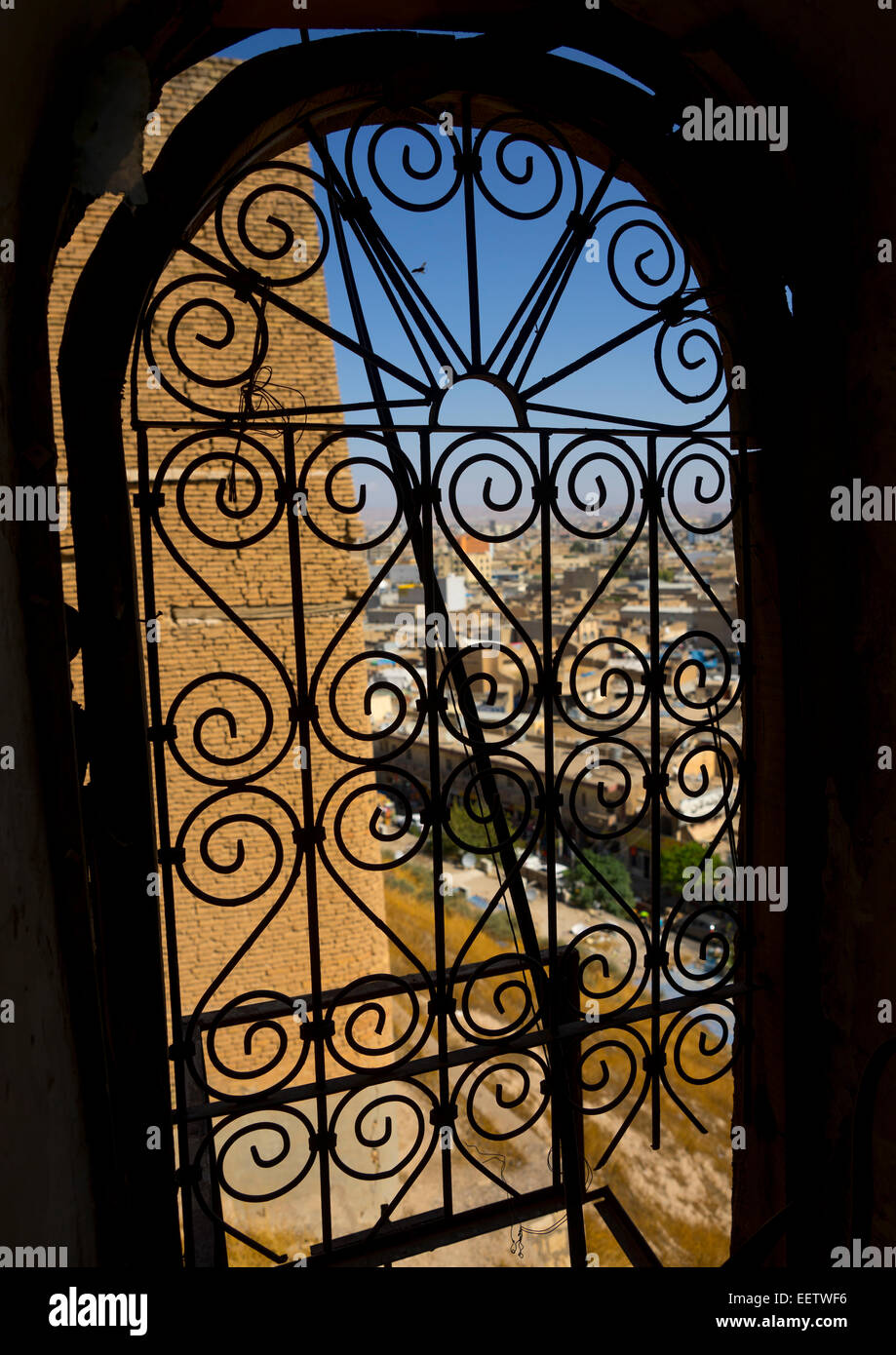 Wrought Iron Window In The Citadel, Erbil, Kurdistan, Iraq - Stock Image