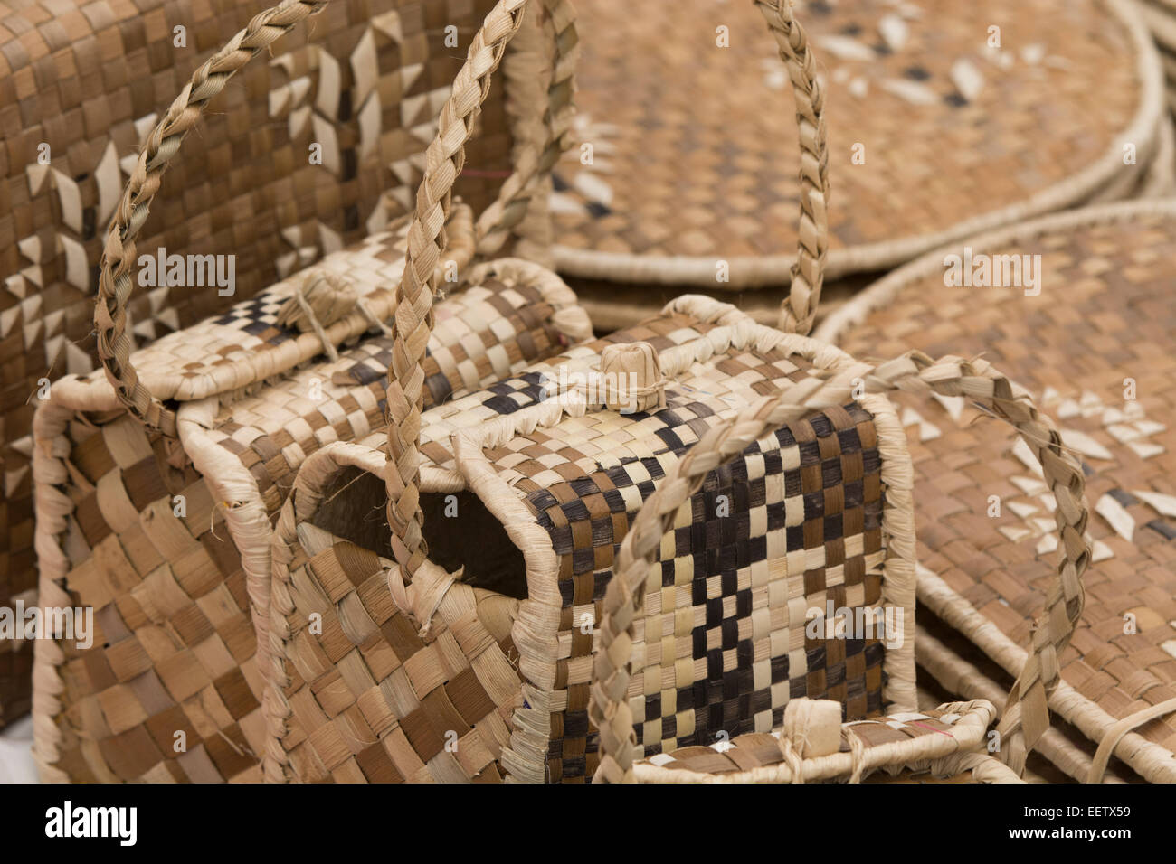 Kingdom of Tonga, Vava'u Islands, Neiafu. Hand woven palm souvenir bags. - Stock Image