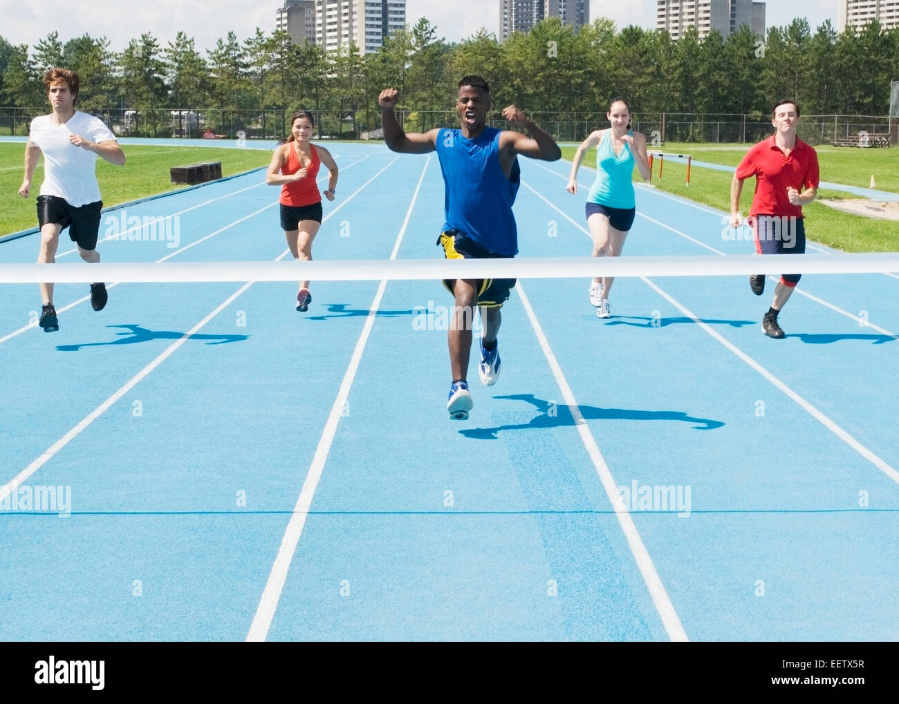race track at finish line Stock Photo
