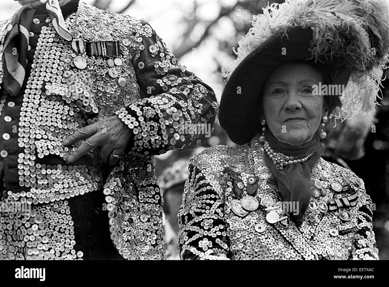 Pearly kings and Queens taking part in a  London event in Battersea Park in 1976 - Stock Image