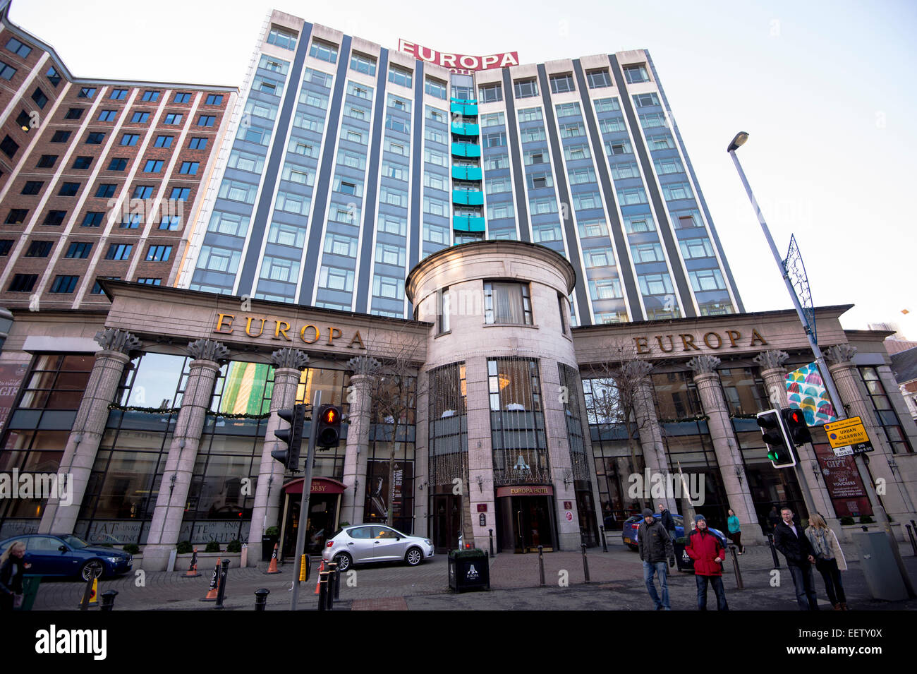 The hotel Europa which is the most bombed hotel in Europe suffering 28 bomb attacks during the troubles, Belfast. - Stock Image