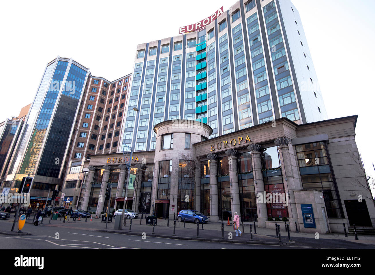 The hotel Euopa which is the most bombed hotel in Europe suffering 28 bomb attacks during the troubles, Belfast - Stock Image