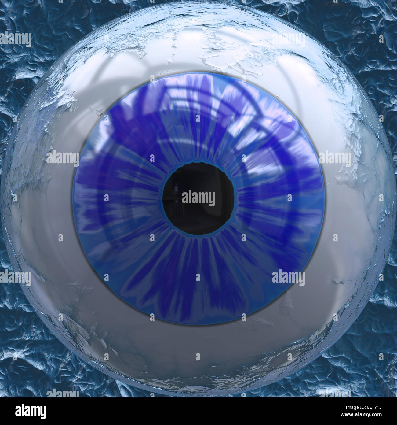 Closeup view of blue colored eyeball - Stock Image