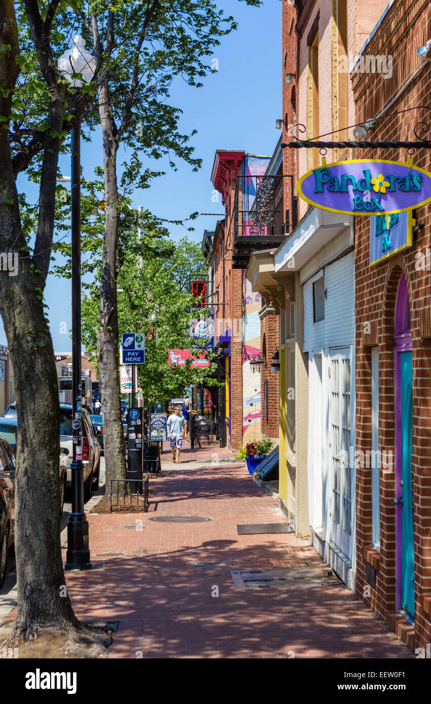 East Cross Street in the Federal Hill district, Baltimore, Maryland, USA - Stock Image