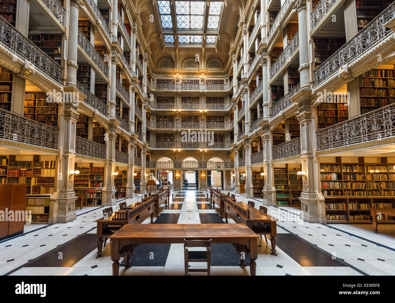 Interior of the 19thC George Peabody Library, Peabody Institute, Johns Hopkins University, Baltimore, Maryland, - Stock Image