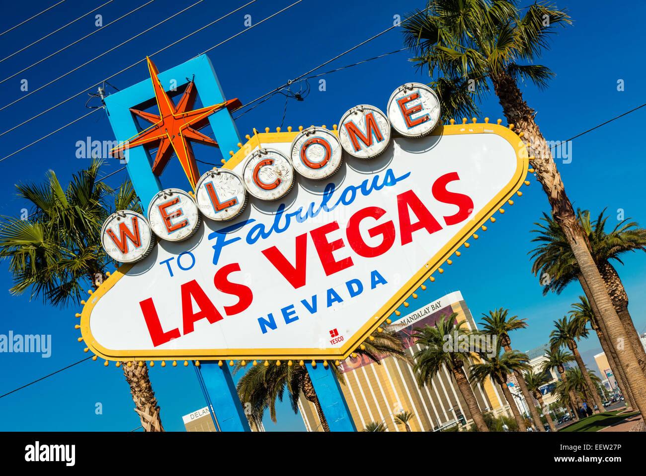 Welcome to Fabulous Las Vegas sign, Las Vegas, Nevada, USA Stock Photo