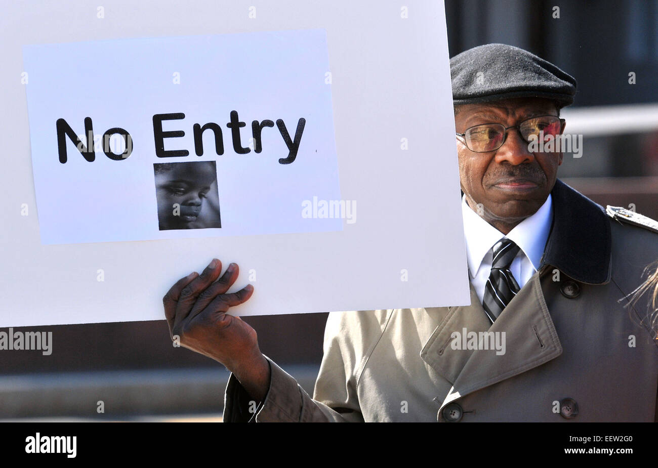 New Haven CT USA- Jerry Poole, a resident in the West River neighborhood for over 25-years, holds a sign during - Stock Image