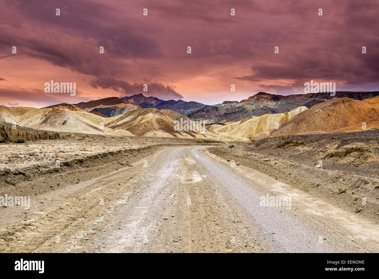 Scenic view over multicolored badlands at Twenty Mule Team Canyon, Death Valley National Park, California, USA - Stock Image