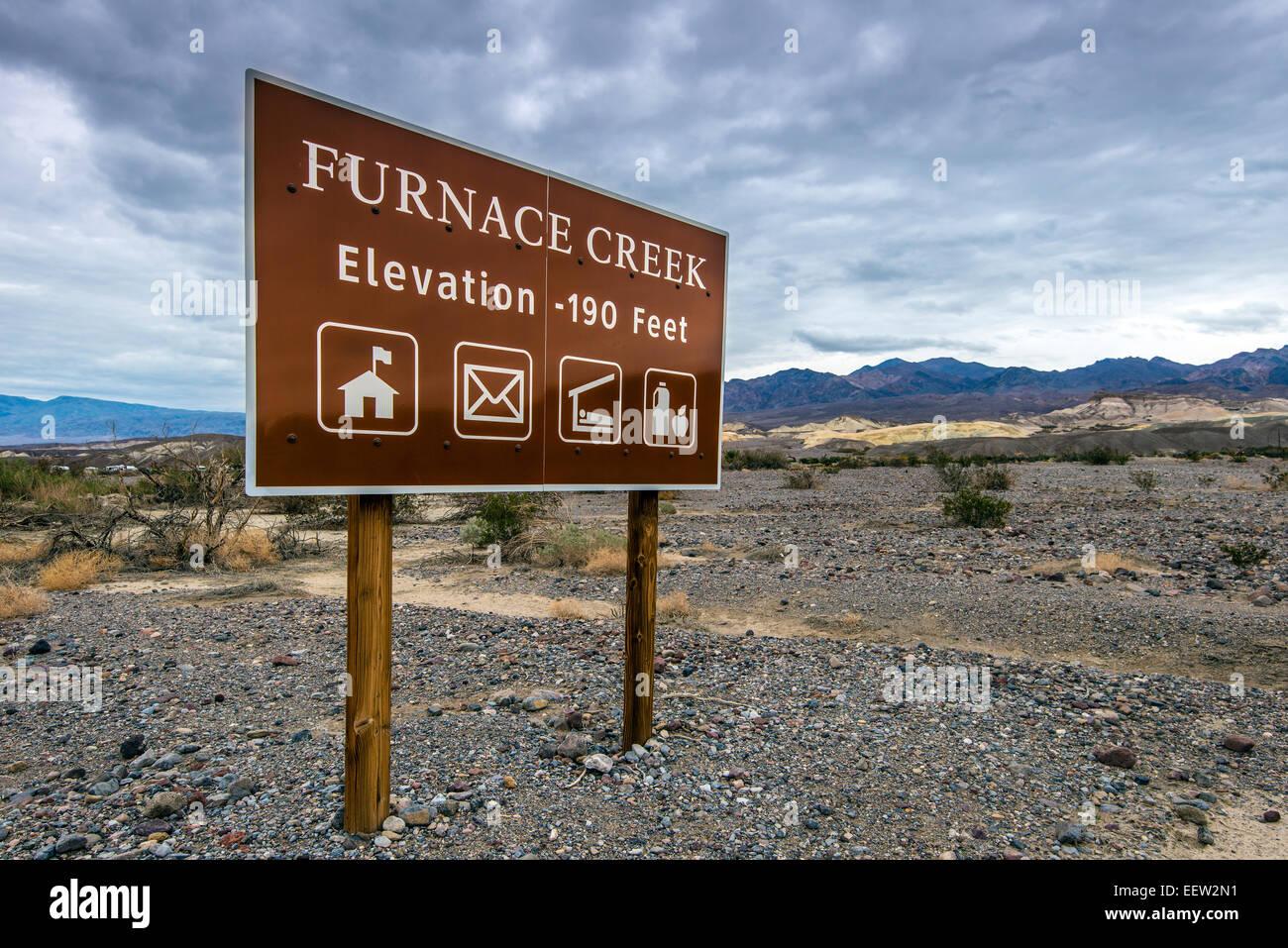 Furnace Creek elevation -190 feet sign, Furnace Creek, Death Valley National Park, California, USA - Stock Image