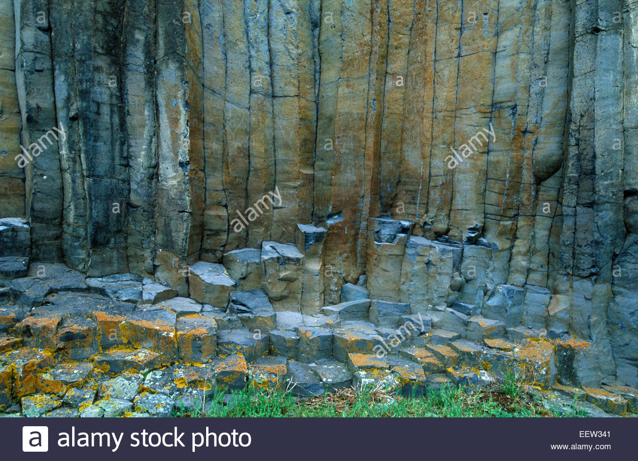 The volcanic rocks of Lavoute-Chilhac village, Allier valley, Auvergne, France. Legend of France - Stock Image