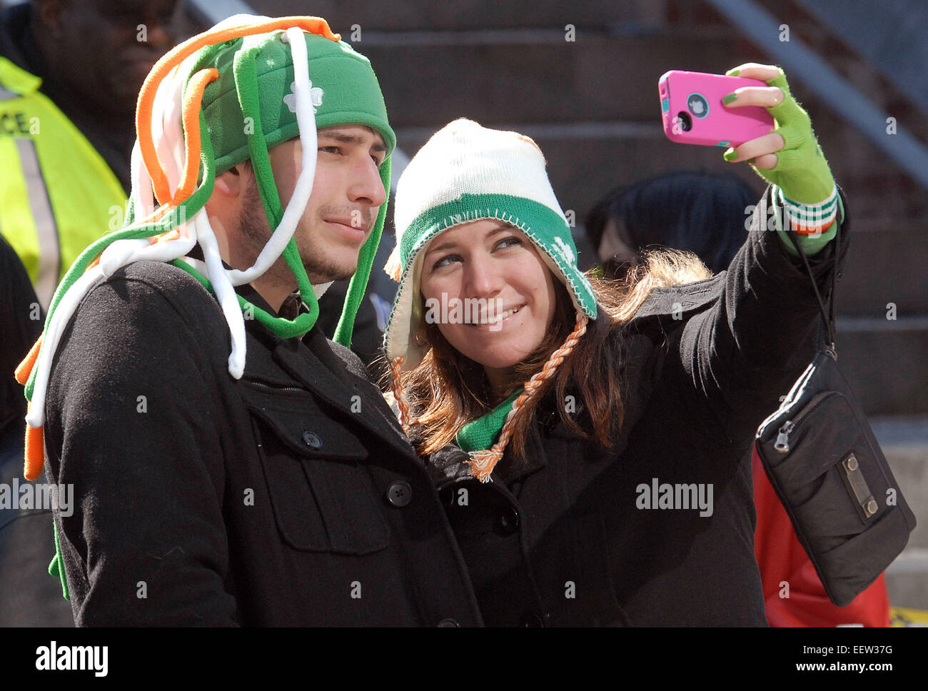New Haven CT USA-  Scenes from the annual New Haven St. Patricks Parade. - Stock Image