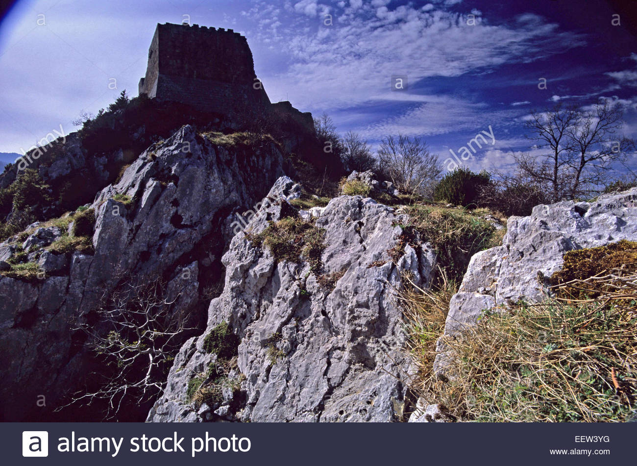 Cathare fortress of Montsegur, Ariege, France. Legend of France Stock Photo