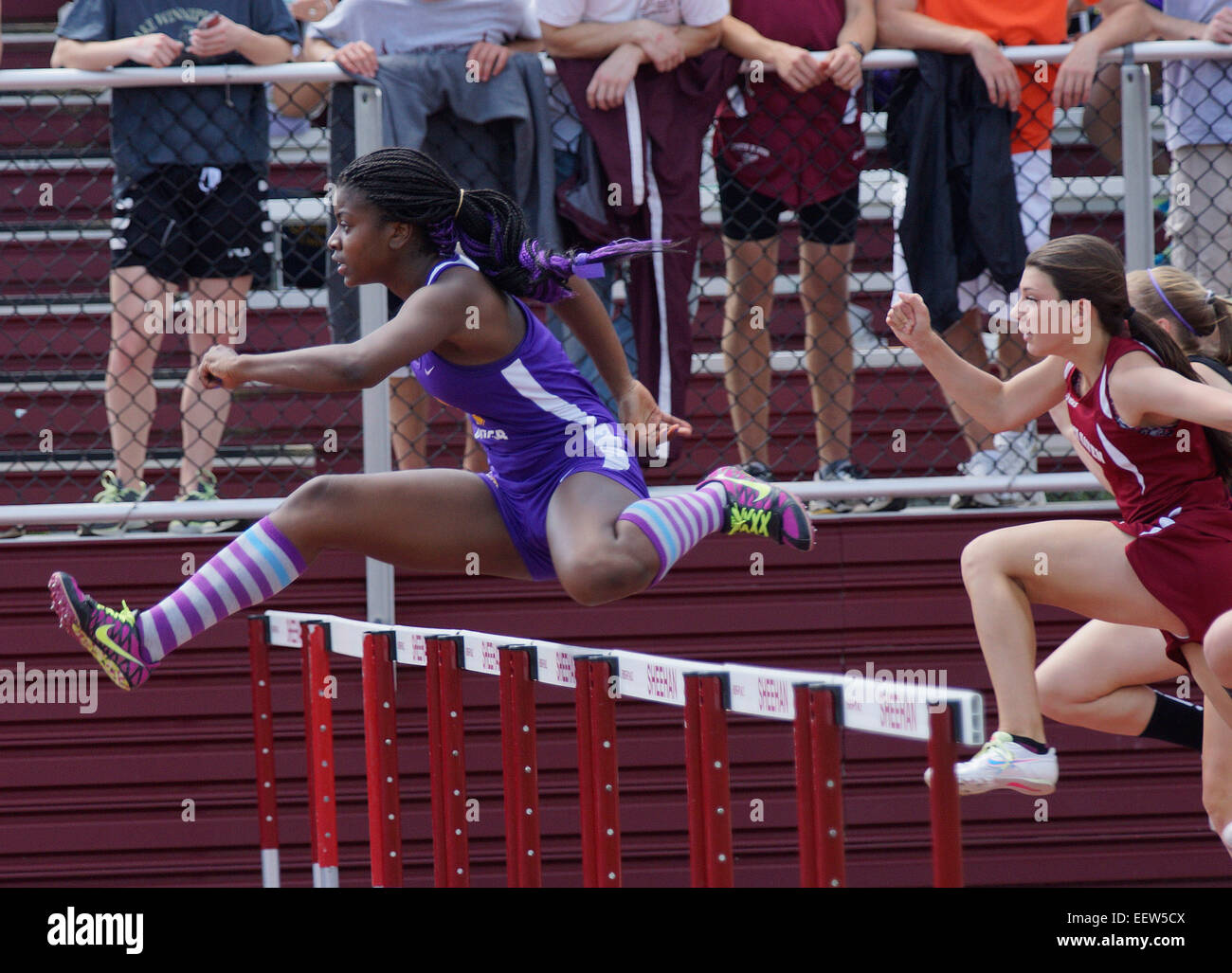 Action from the SCC track meet in Wallingford, CT. USA - Stock Image