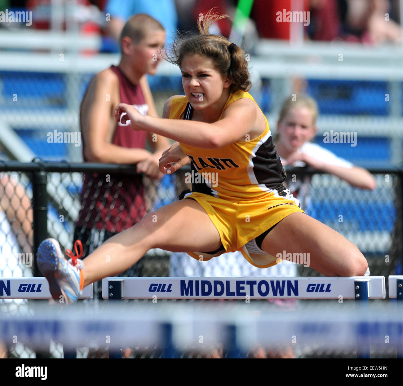 Middletown, CT USA--Hand's Lauren Brady during the 100 meter hurdles 3rd heat at the Class L State Championship - Stock Image