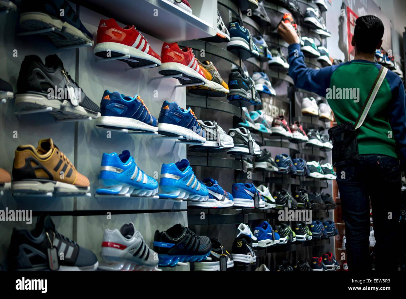 sale in Foot Locker Shop Stock Photo