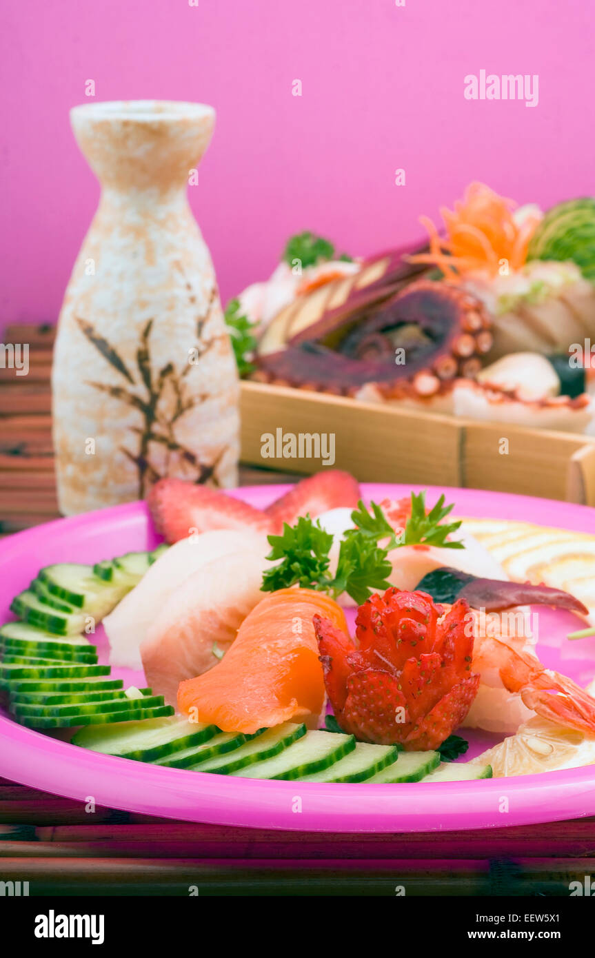 Variety of sushi platters - Stock Image