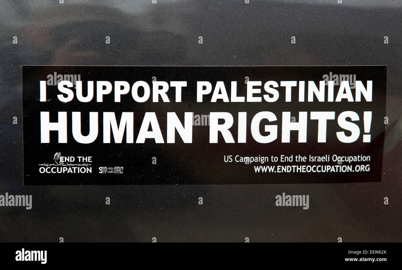 Pro Palestinian Bumper Sticker - Stock Image