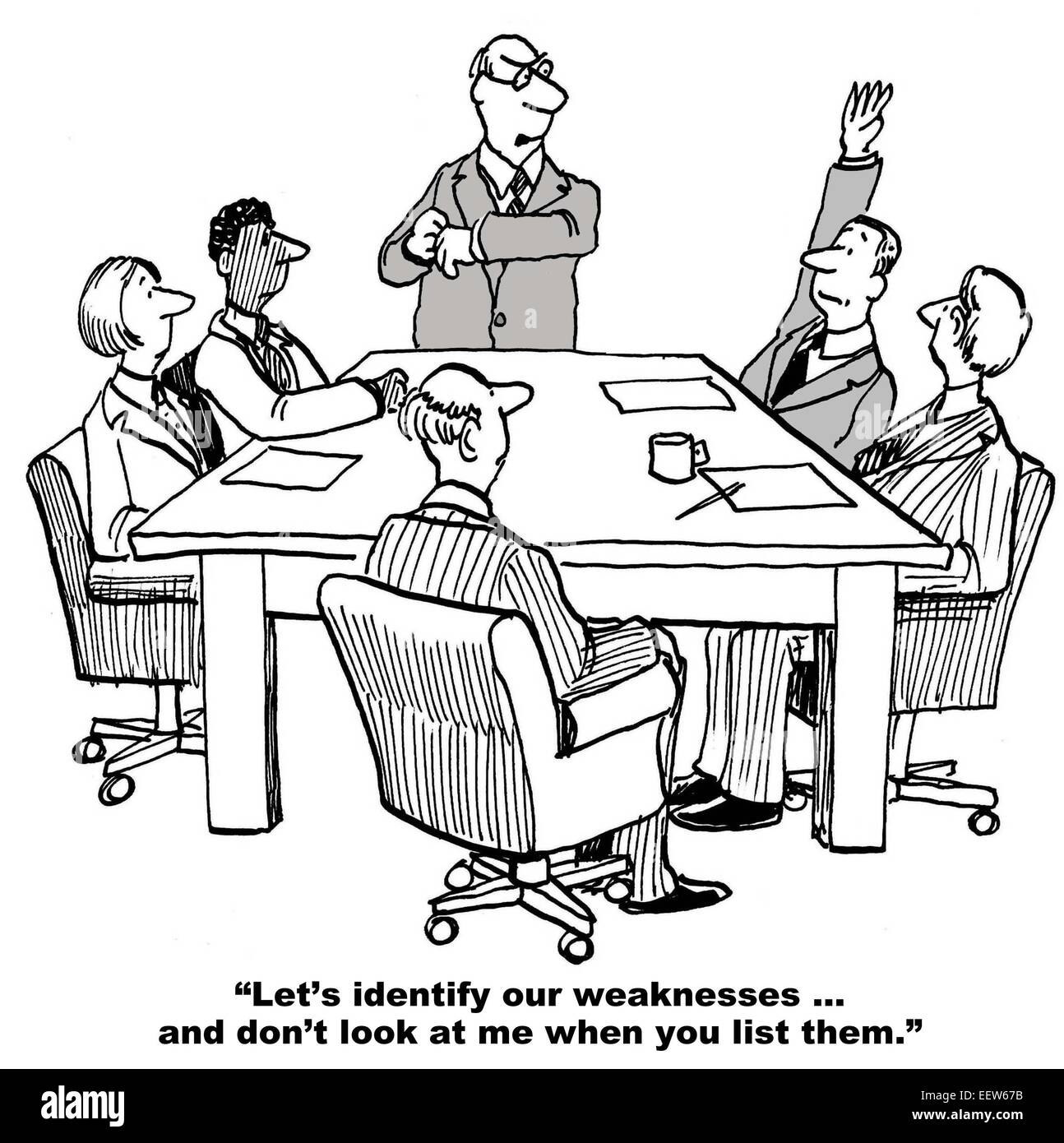 Cartoon of group of mad business people on meeting |Business Meeting Cartoon Person