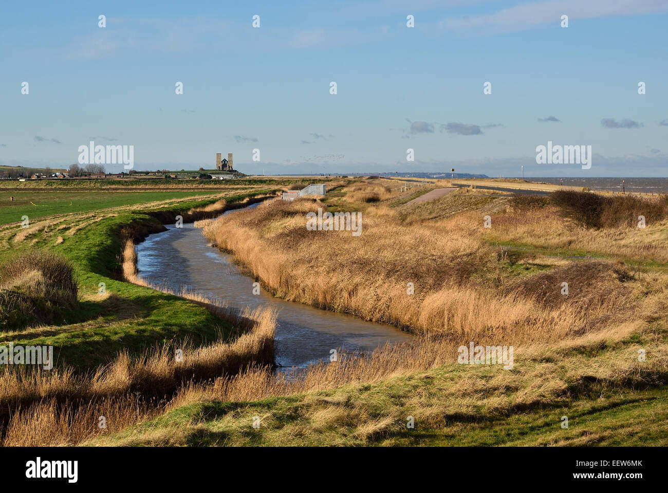 Looking west across the River Wantsum towards St Mary´s Church ar Reculver, Kent, UK - Stock Image