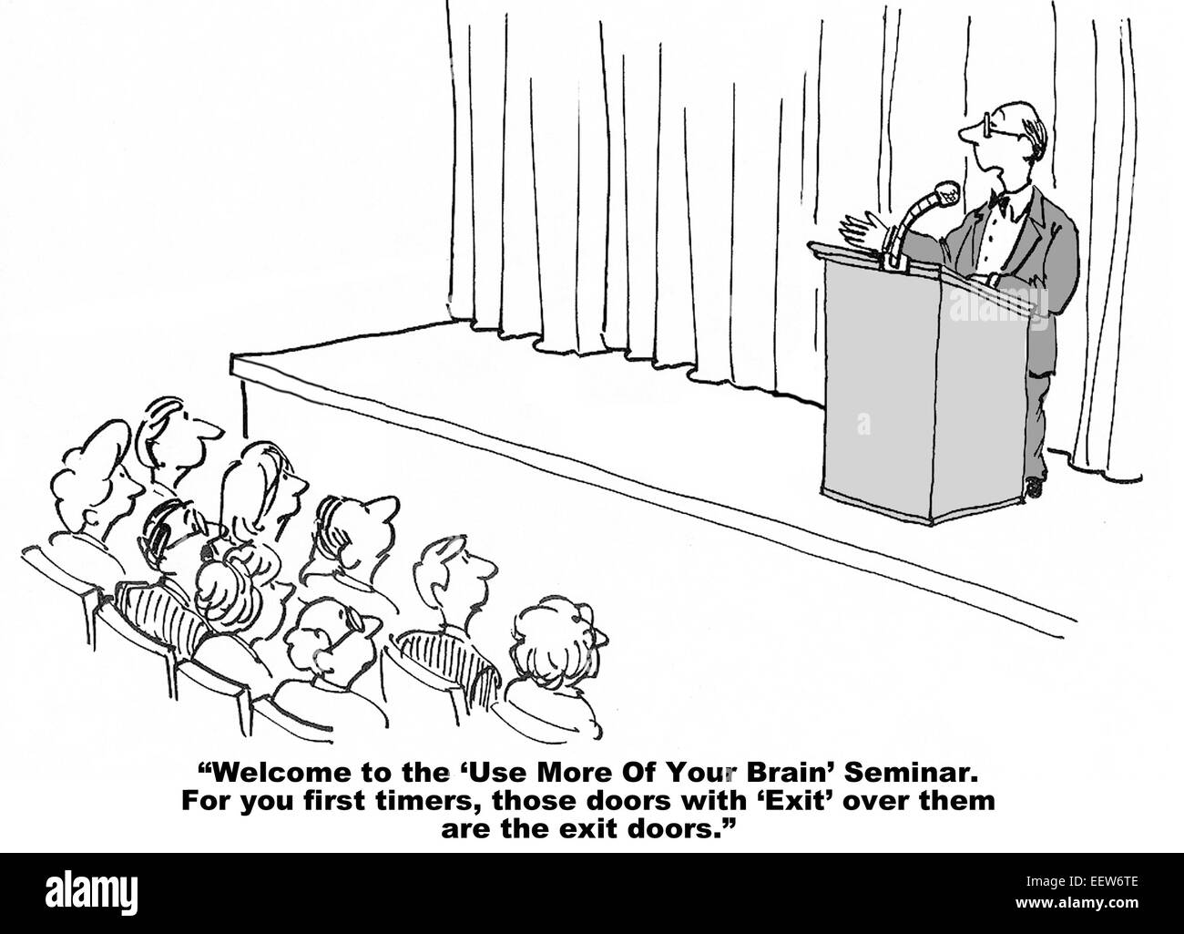 Cartoon of a businessman leading a seminar on 'use more of your brain'. - Stock Image