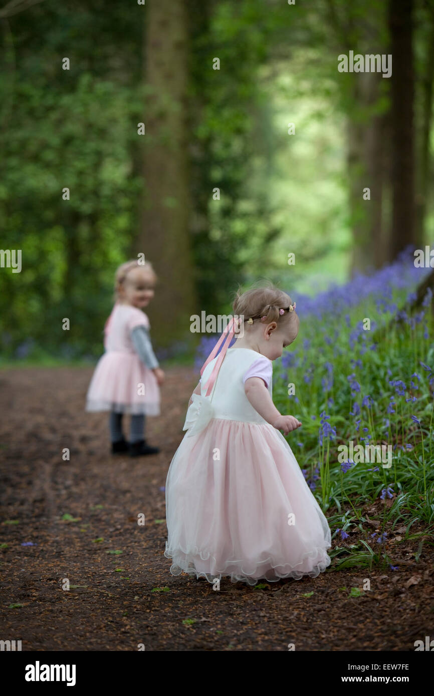 Two little girls in pretty dresses walking along a woodland path of bluebells in Spring. - Stock Image